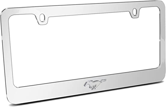Ford Mustang Pony 3d Chrome Emblem Black Metal License Plate Frame iPick Image