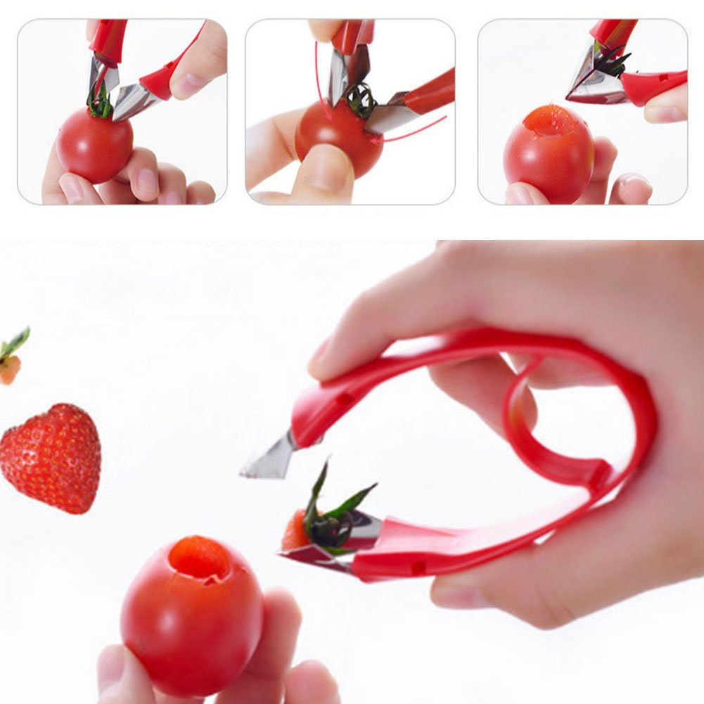 Household Adjustable Strawberry Huller Tomato Leaf Remover Convenient Huller Kitchen Tools Stem Remover 9.5X2cm,Red