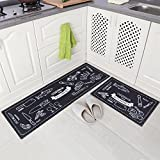 Carvapet 2 Piece Microfiber Non-Slip Kitchen Mat Rubber Backing Doormat Runner Rug Set, Cozinha Design (Black 15''x47''+15''x23'')