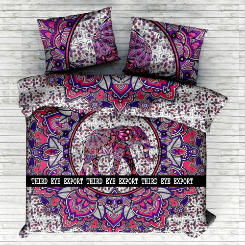 Third Eye Export Indian Medallion Duvet Coverlet Tapestry/Hippie Mandala Bohemian Cotton Bedding Comforter Set/Traditional Floral Print Quilt Blanket Bed Sheet/King-Queen Bedspread w/ 2 Pillow Covers (Bohemian Sheet Sets)