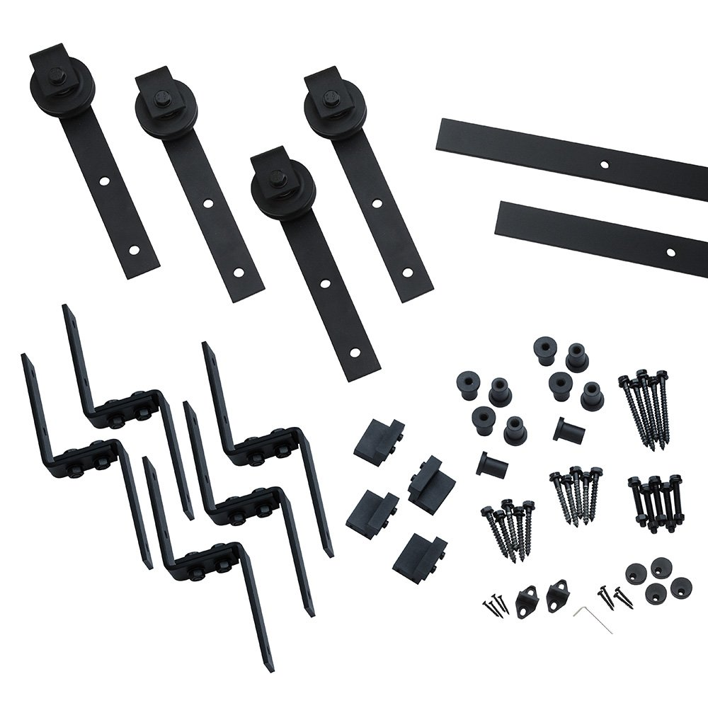 I-Semble Bypass Rolling Door Hardware Kit, Bent Strap, Black