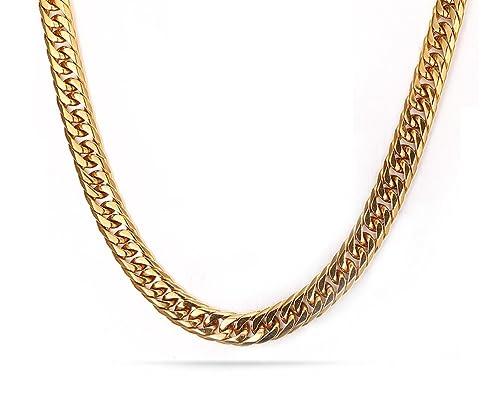 Cadena Vnox, para hombre, acero inoxidable, bañado en oro de 18 quilates, 7,5 mm, 60 cm