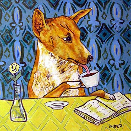 Basenji at the Cafe dog art tile coaster gift