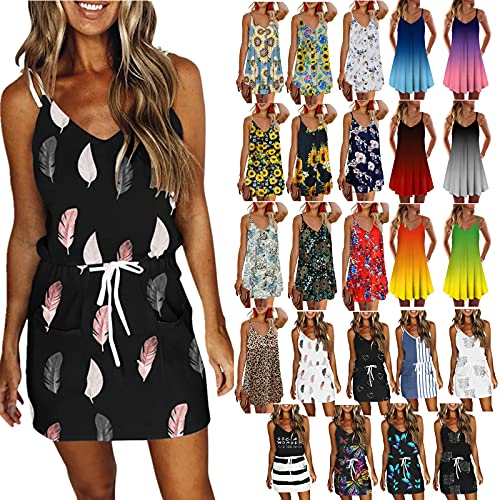 Balakie Women Spaghetti Strap Summer Dresses Gradient Color Floral Printed Sleeveless Casual Losse Mini Dress