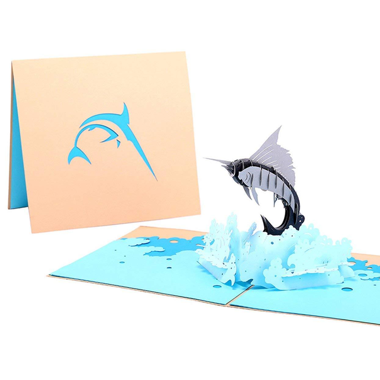 3D Pop up Sailfish Greeting Cards Envelope Post Card Birthday