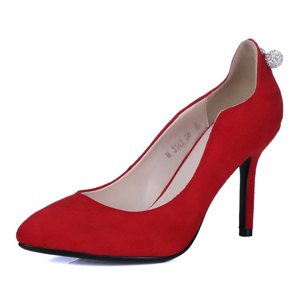 BalaMasa Girls Glass Diamond Low-Cut Uppers Pull-On Red Imitated Suede Pumps-Shoes - 3 B(M) US