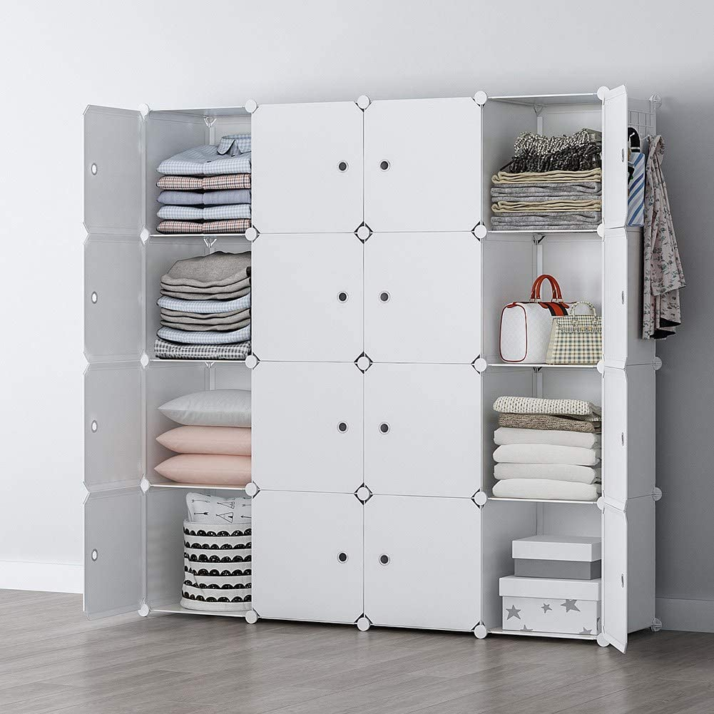 YOZO Portable Closet Clothes Wardrobe Modular Dresser Garment Rack Polyresin Storage Organizer Bedroom Armoire Cubby Shelving Unit Dresser Multifunction Cabinet DIY Furniture, White, 16 Cubes
