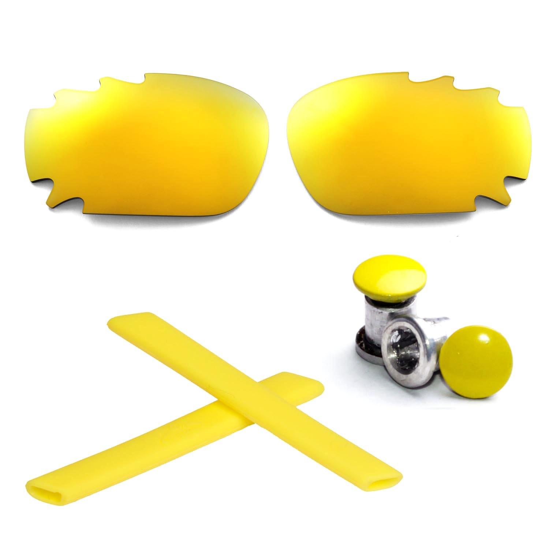 Walleva WL Polarized 24K Gold Vented Lenses+Yellow Earsocks+Bolt For Oakley Racing Jacket