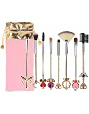 Coshine 8pcs Sailor Moon Gold Makeup Brush Set With Pouch, Magical Girl Cute Cosmetic Makeup Brushes With Pink Bag