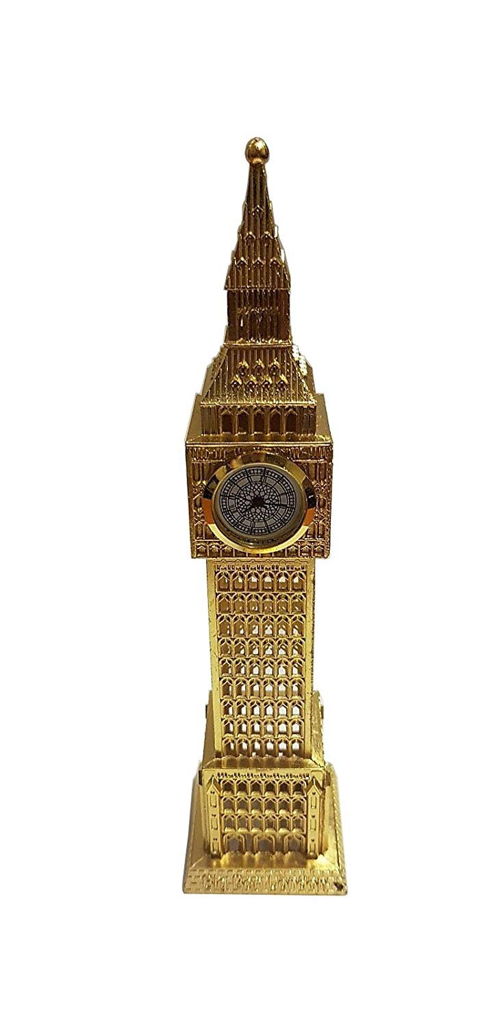 Big Ben Metal Analogue Clock - Golden Colour/Ideal for Kitchen Bedroom Living Room or Office/London UK British Souvenir/Place it on a Shelf Table or Desk/Gift Idea for Children or Adults My London Souvenirs