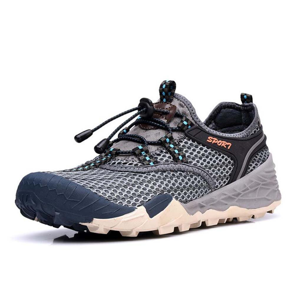 MYI Zapatos de los Hombres Al Aire Libre Primavera Nueva Malla Hueca Transpirable Turismo de Secado Rápido Senderismo Zapatos Para Caminar 42 EU|Gray