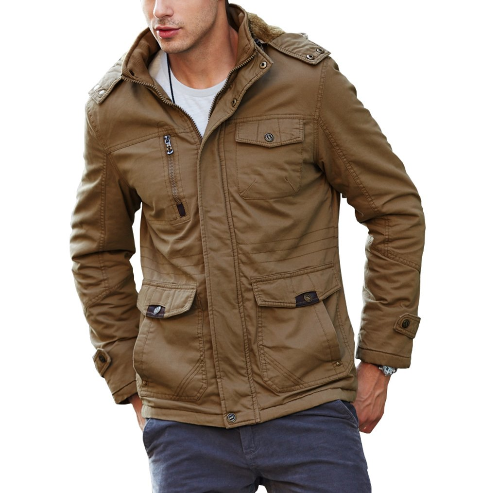CRYSULLY Men's Fall Fashion Long Sleeve Lightweight Cargo Jacket Military Front Zip Coat Jacket Khaki by CRYSULLY