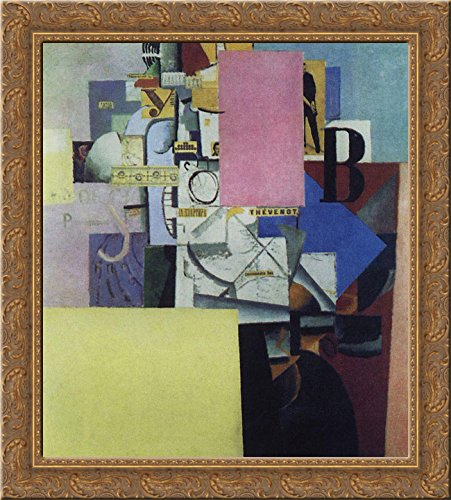 Lady at the Poster Column 20x20 Gold Ornate Wood Framed Canvas Art by Malevich, Kazimir