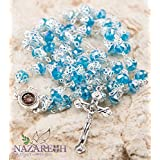 Unique Light Blue Crystals Beads Rosary Necklace Jesus Cross and Holy Soil (Holy Land)