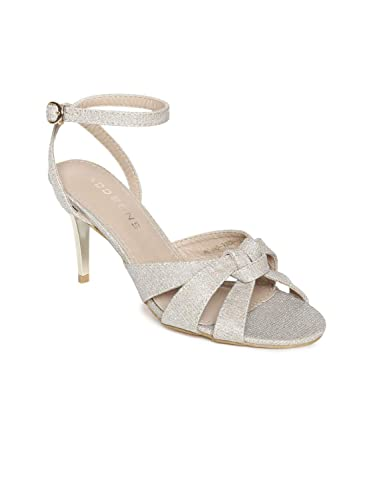 955cbf24e0 Addons Lt. Gold Finish Knotted Metallic Crisscrossed Strappy Heel Sandal:  Buy Online at Low Prices in India - Amazon.in