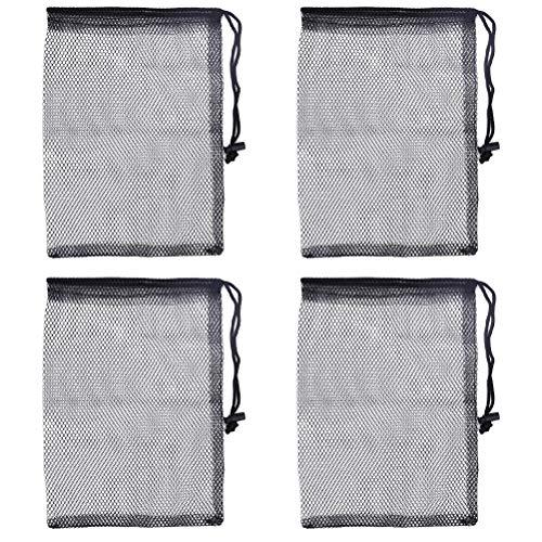 Drawstring Golf Bags Black Mesh Nets Pouch Golf Tennis Ball Carrying Storage Bag 4pcs ()