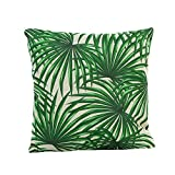 Pgojuni Flowers Grass Pattern Cushion Cover Throw Pillow Cover Accent Cushion Cover Square Pillow Case for Sofa/Car/Bed Home Decor 1pc (H)