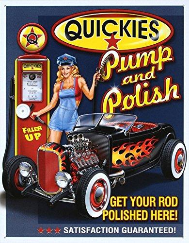 Risque Humor Tin Metal Sign : Quickies Pump & Polish