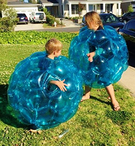 "(2-Pack) Wearable Inflatable Bumper Zorb Balls 36"" - Bubble Soccer Suits - For Kids or Small Adults - Blow Up Toy in 5 Min. Boy Girl Outdoor Game Sumo Wrestling Suit Heavy Duty Durable PVC Vinyl"