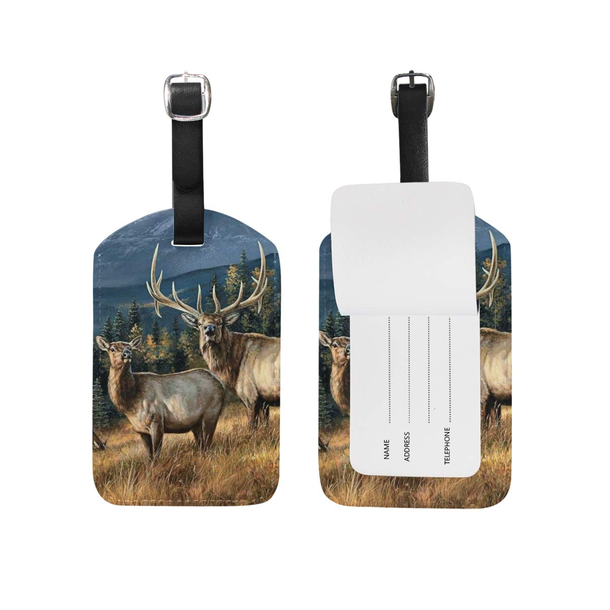 Set of 2 Luggage Tags Wapiti Elk Animal PaintingSuitcase Labels Travel Accessories
