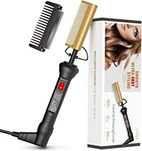 Hot Comb Hair&Beard Professional Straightener, Ceramic Fast Heating to 450?, Anti-Scald Comb with Protector, Dual Voltage Electric Pressing Comb Hair Straightener for Stylist and Salon at Home HC0901