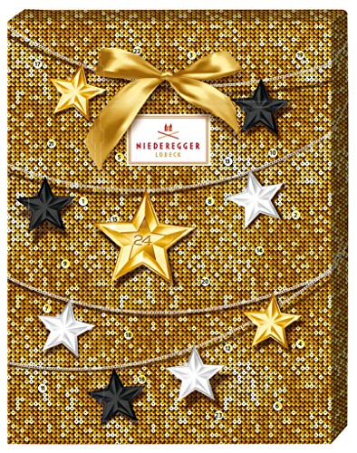 Niedereggter Merry Christmas advent calendar Advent calendar with 24 chocolates with marzipan, dark chocolate and milk chocolate, 4 assorted 300 g