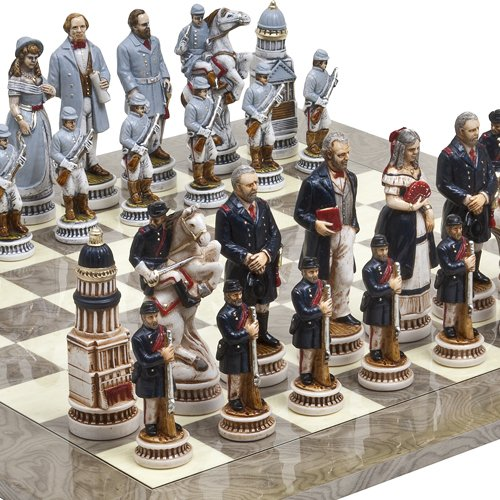 Bello Games Collezioni-American Civil War Luxury Chessmen from Italy & Greenwich Street Chess Board. Giant Size King: 5 5/8