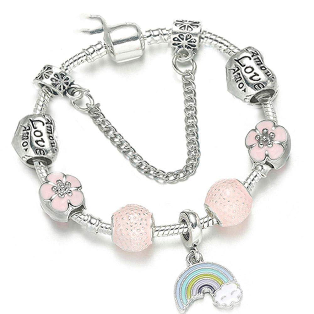 SONGBB Bracelet Silver Plated Rainbow Charm Bracelet Bangle with Pink Enamel Flower Beads Fine Bracelet for Women Jewelry Gift