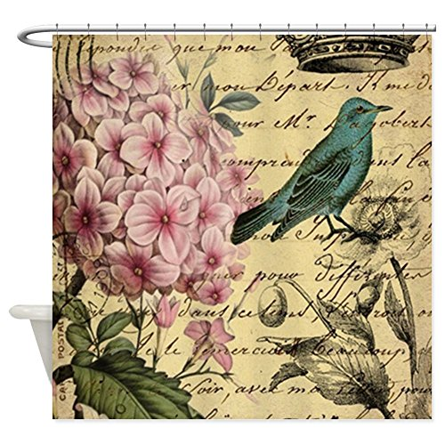 French Hydrangea (CafePress - paris hydrangea butterfly french botanical art Sho - Decorative Fabric Shower Curtain (69