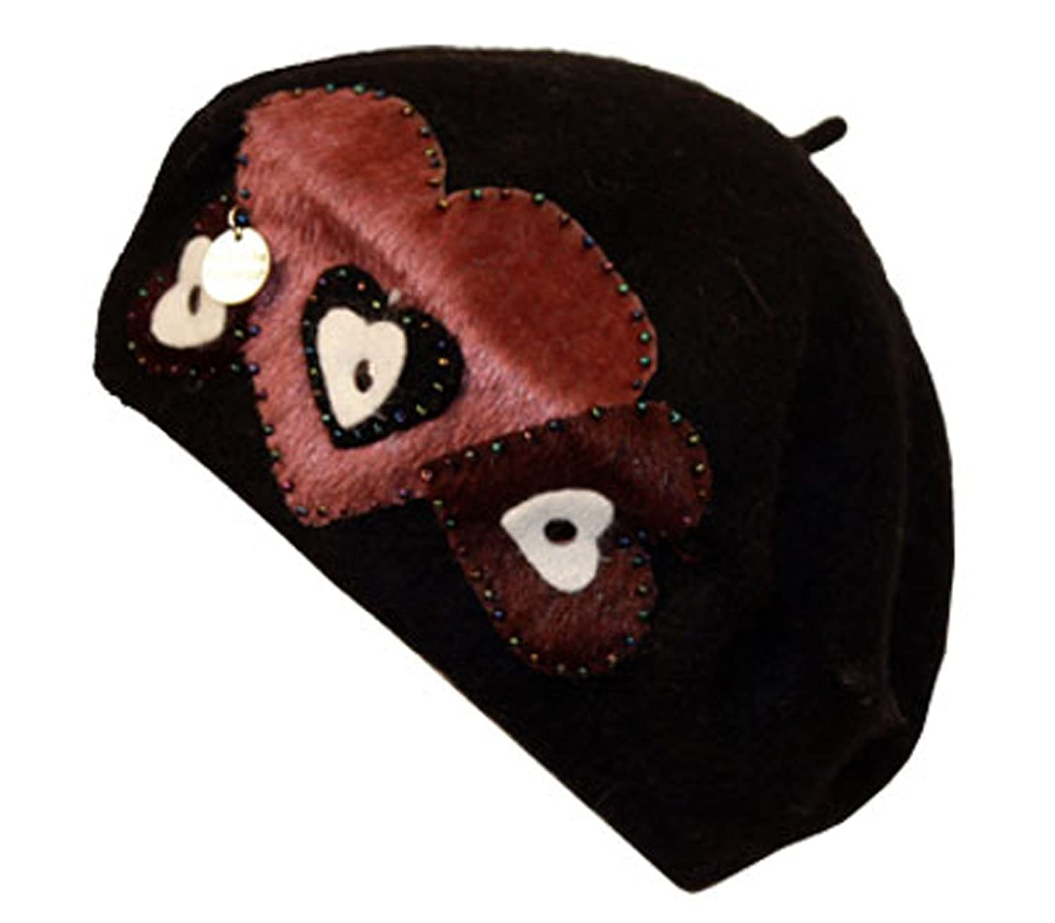 Sakkas Classic Wool Warm Thick French Beret/Winter Hat - Patchwork Hearts 5055460135545