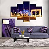 Large Arabic Empire Painting on Canvas Jerusalem Modern Wall Art Posters and Prints Islamic Religious Artwork Home Decor for living room Pictures 5 Panel HD printed Framed Ready to Hang(60''Wx40''H)