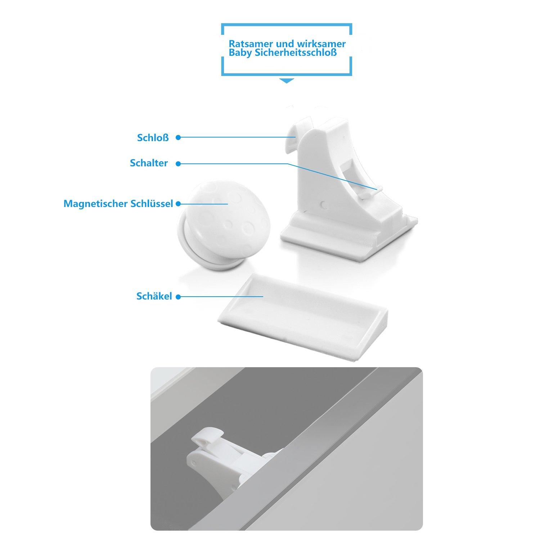 Youan 27pcs Cubiertas de Seguridad de Niños - 14 x Tapones de Seguridad para Enchufes Protección para Niños/ 4 x Cerradura Magnética para la Seguridad del ...