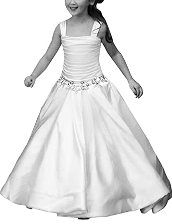 Mulanbridal Lovely Kids Toddler Flower Girls Pageant Satin Holy Communion Dresses Ball Gown 1-12