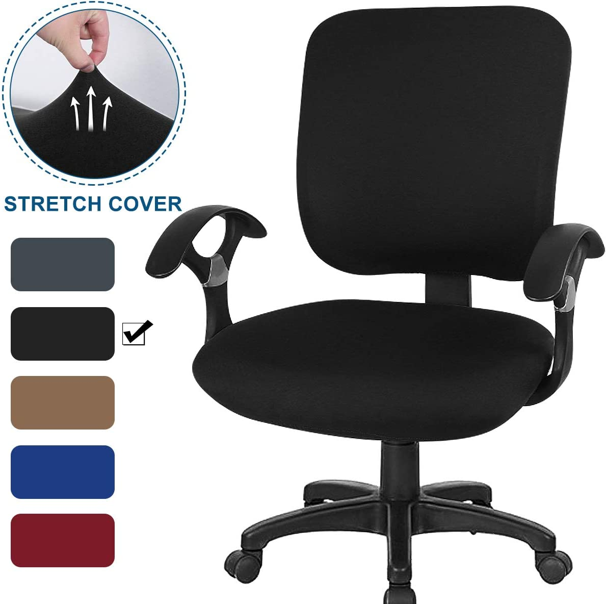 CAVEEN Office Chair Covers 2piece Stretchable Computer Office Chair Cover Universal Chair Seat Covers Stretch Rotating Chair Slipcovers Washable Spandex Desk Chair Cover Protectors,Black