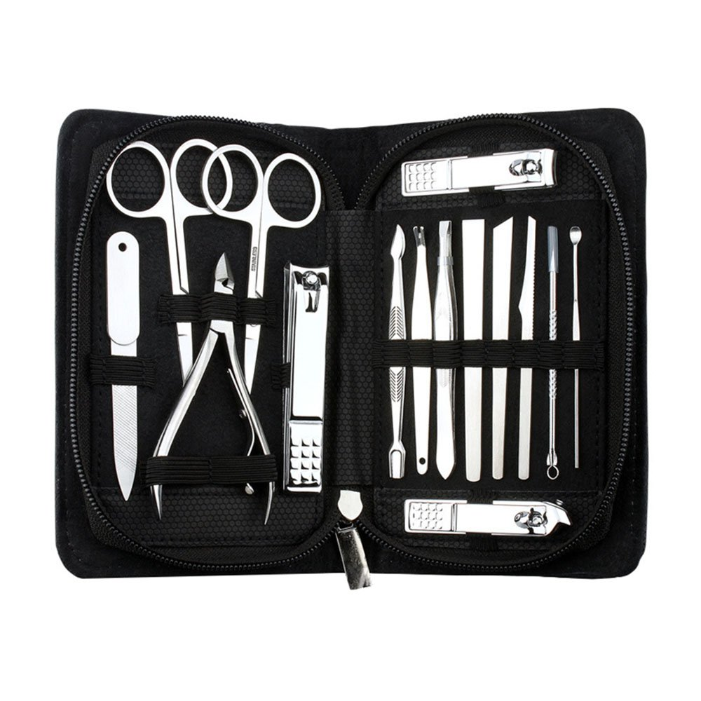 AMarkUp Professional Stainless Steel Nail Clippers Pedicure Cutter Manicure Set for Outdoor Travel Tool Kit (15Pcs/set, Black) by AMarkUp