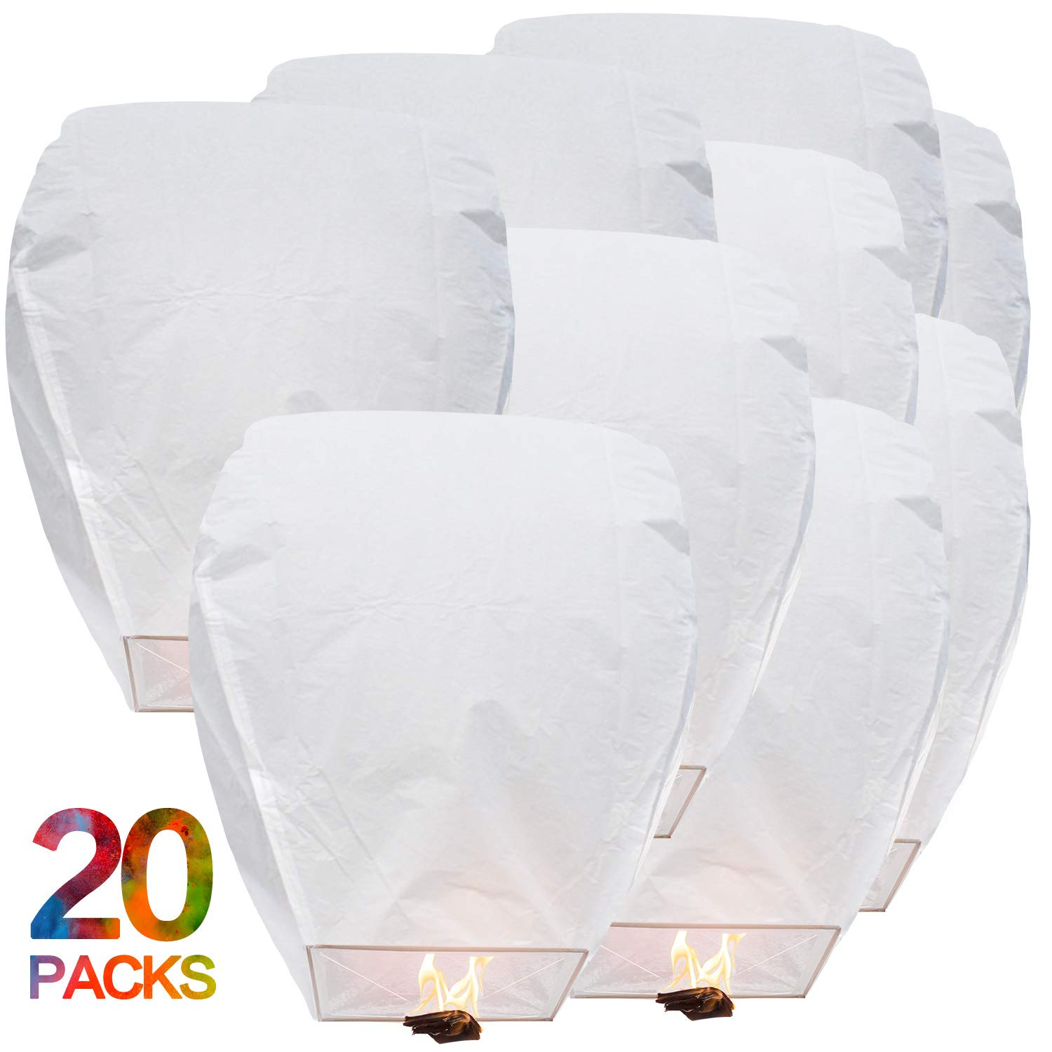 BATTIFE Sky Lanterns Chinese Flying Lanterns Biodegradable Paper Full Assembled 20 Pack White for Party Holiday Memorial Day to Release in Sky by BATTIFE