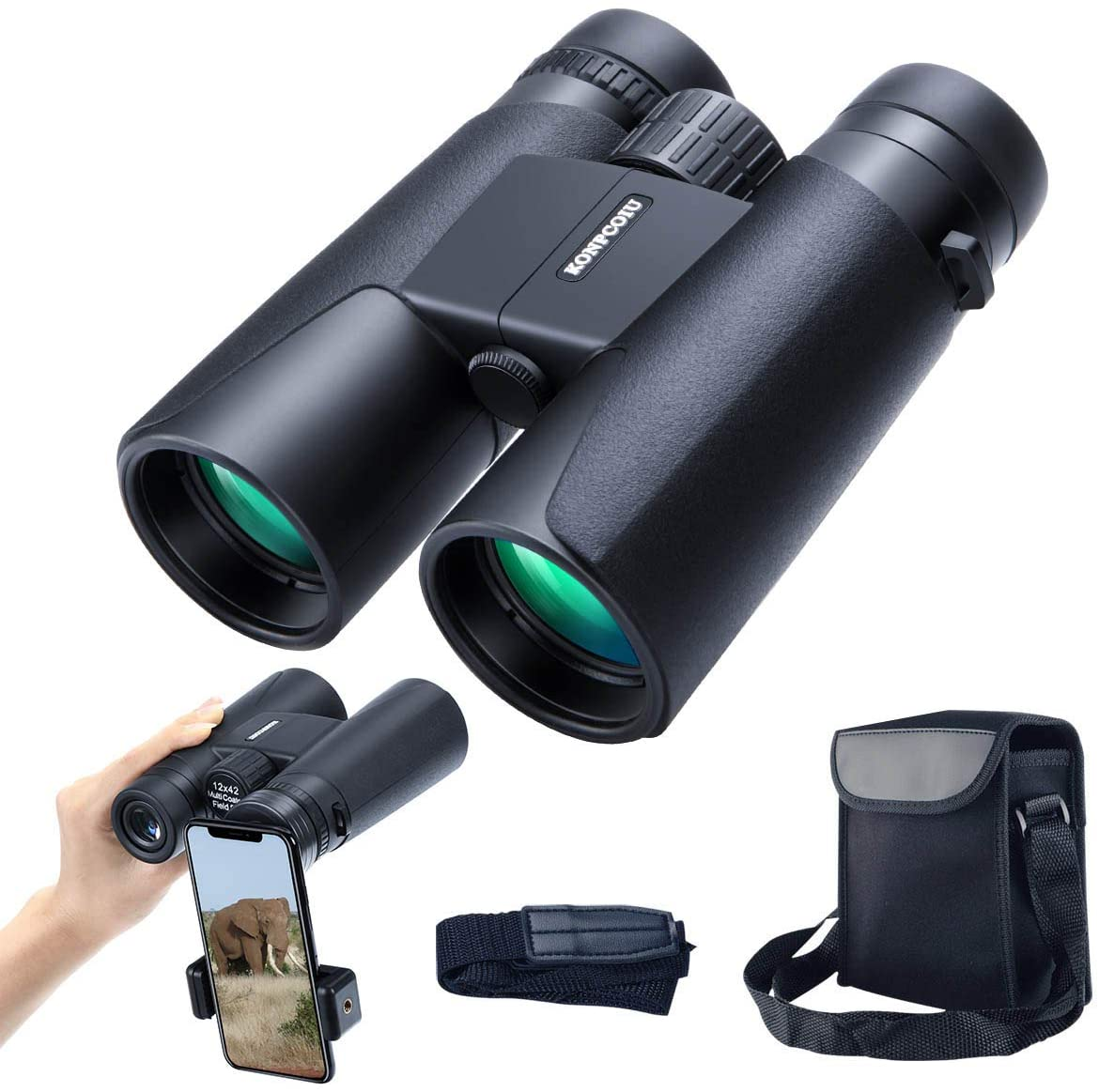 konpcoiu 12×42 Roof Prism Binoculars for Adults, Portable and Waterproof Compact Binoculars with Low Light Night Vision,BAK4 Prism FMC Lens HD Clear View for Bird Watching, Hunting, Travel, Concerts