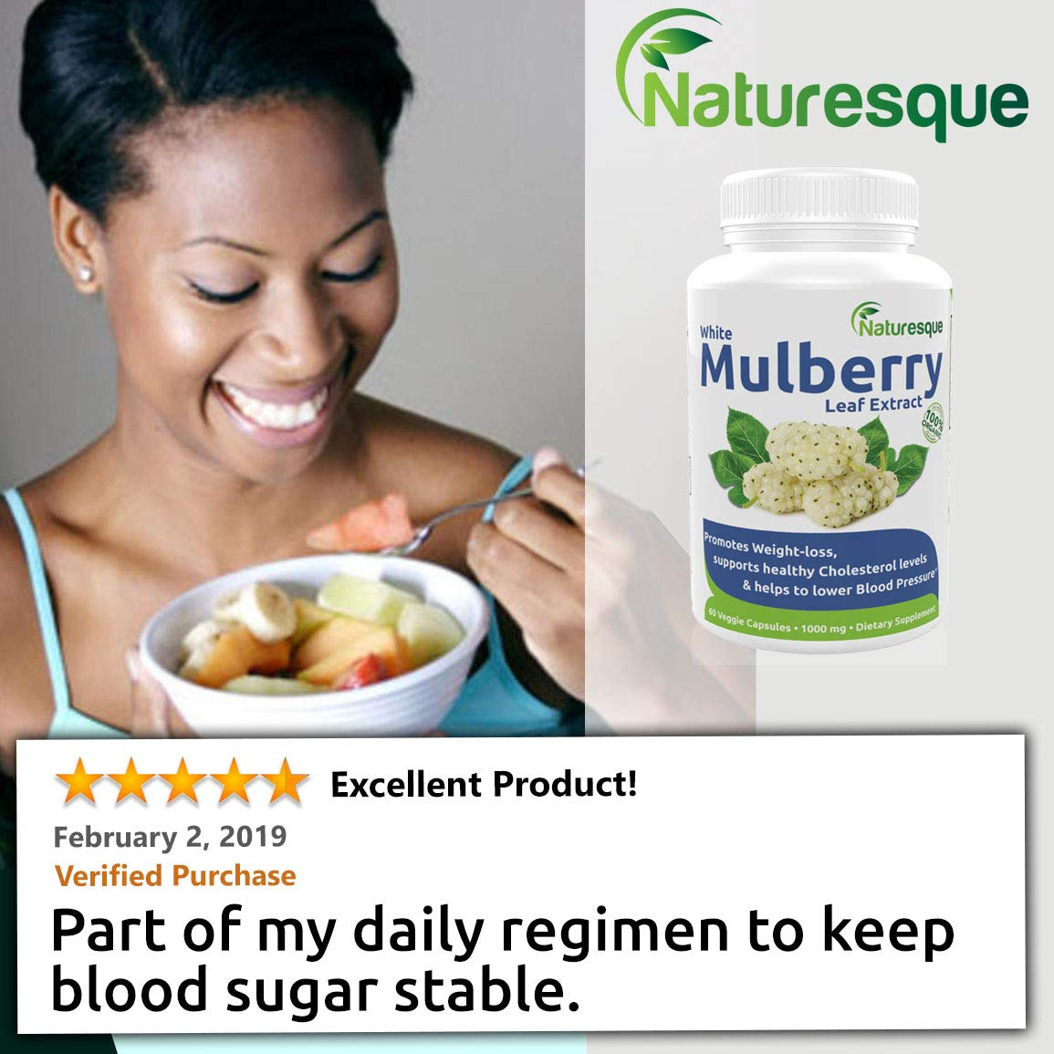Naturesque White Mulberry Leaf Extract   Controls Appetite, Curbs Sugar & Carb Cravings   Helps Lower Blood Sugar Levels   Perfect for Zuccarin Diet Weight Loss   1000mg 60 Vegan Capsules