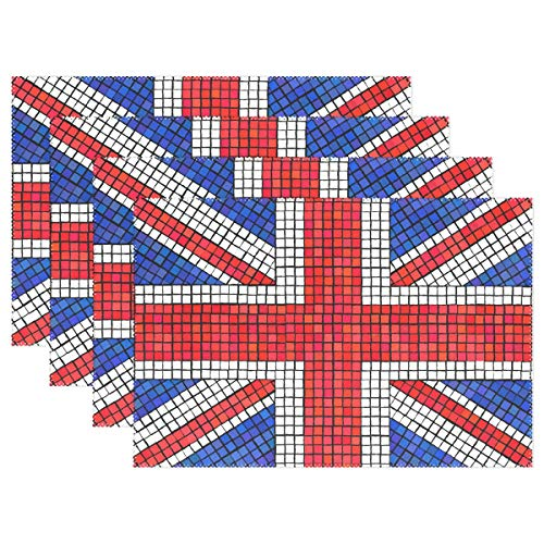 XiangHeFu Placemats Abstract UK Flag 12x18 inch Heat Resistant Set of 4 Non Slip for Dinning Table (Uk Placemats Rattan)