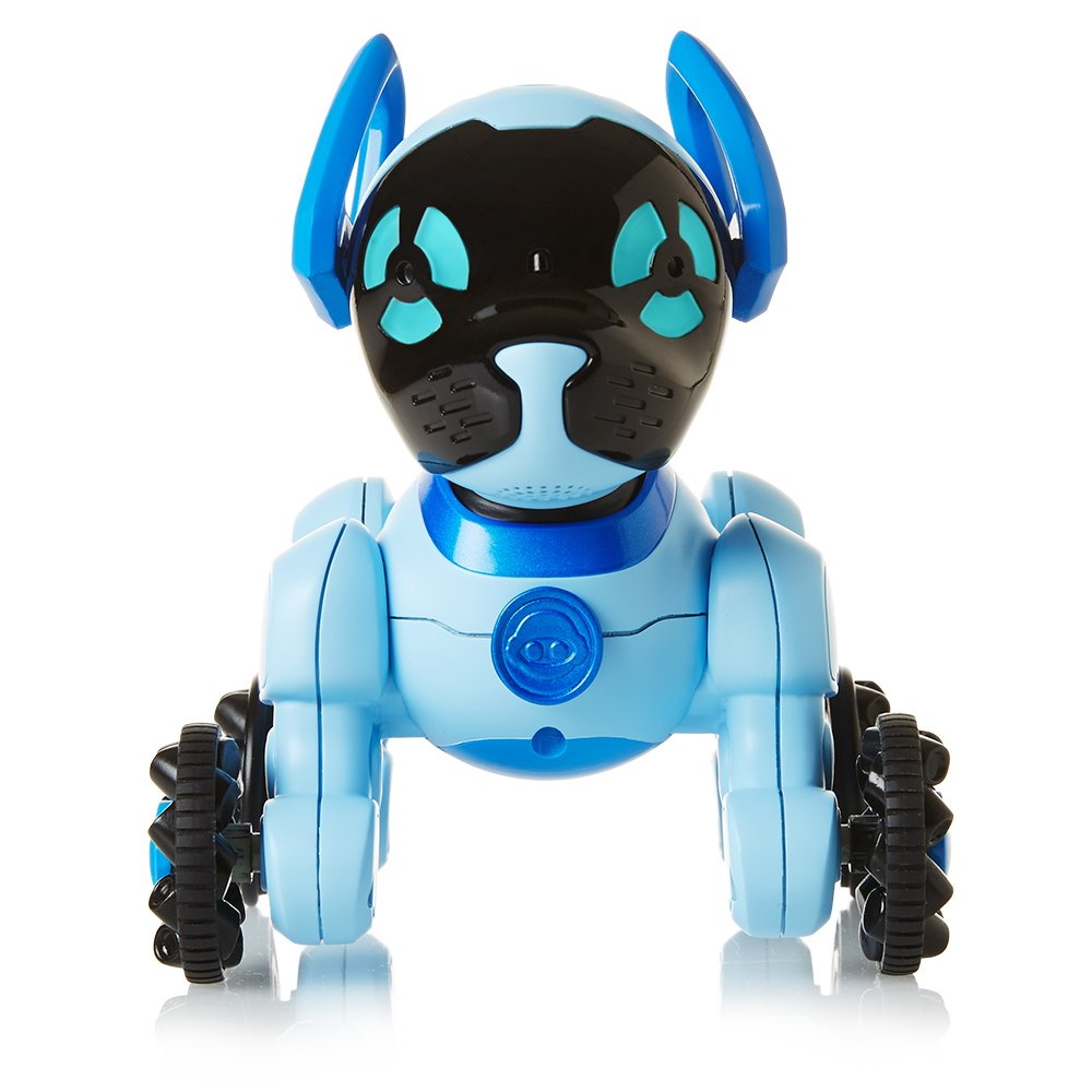 An image of a Robot dog in sky blue and black color for kids.