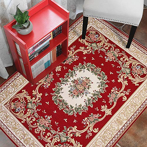 Low Profile Area Rug 4x6, Hihome Red Traditional Floral Woven Pattern with Border Area Rugs Machine Washable for Living Room Bedroom Kitchen