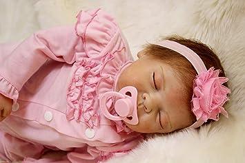 LIDE 22 Pulgadas 55 cm Silicona Vinilo Ojos Abiertos Reborn bebé Baby Dolls Muñecas Muñecos niña Gift magnético Juguetes: Amazon.es: Juguetes y juegos
