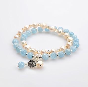 bc270e3e28c9 ZMLSXU Pulsera de Cristal de la Perla de Moda Cadena de Mano Simple Estilo  de la Mujer Doble Colgante de Brazalete para su Amante Azul Rosa (Color    Azul)  ...