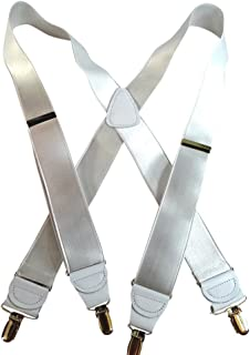 """product image for Hold-Ups White 1 1/2"""" wide Satin finished in X-back with No-Slip Gold clips"""