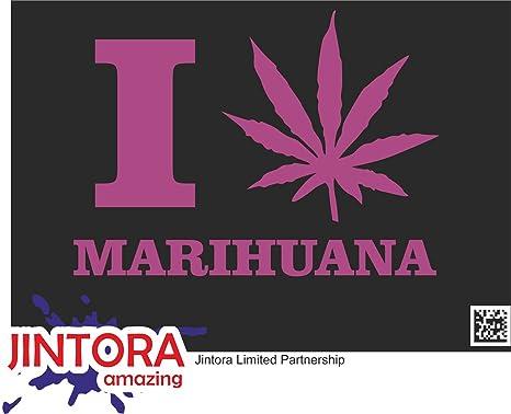JINTORA Etiqueta para el Coche/Etiqueta engomada - Amo la Marihuana - 135x99 mm -