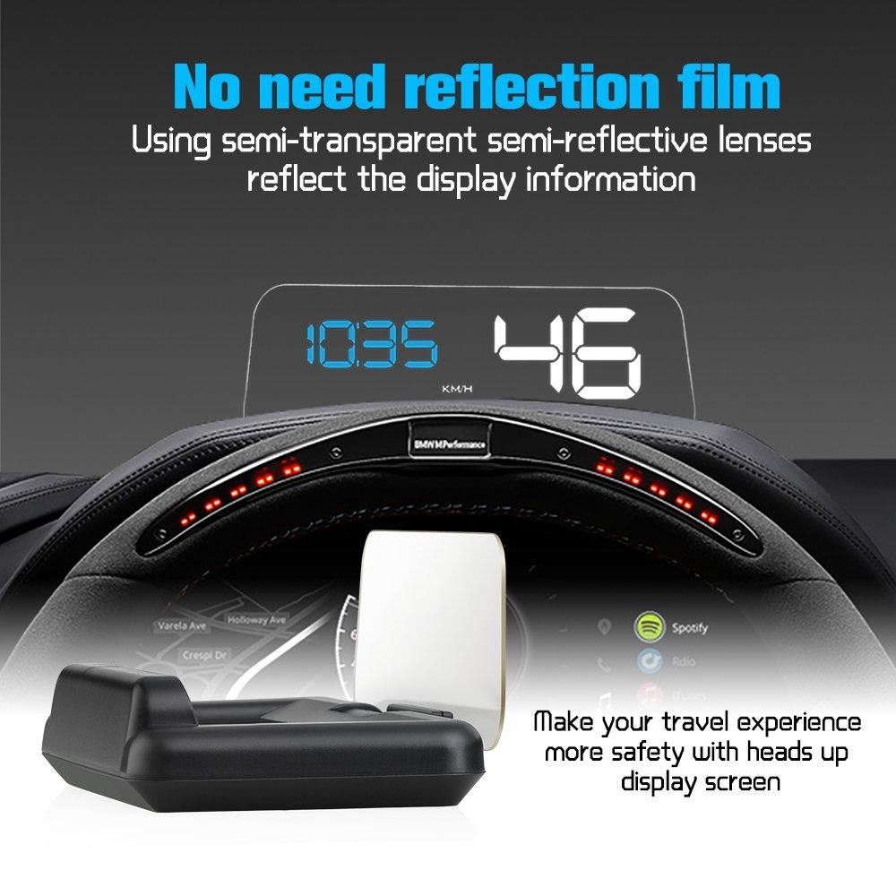 iKiKin Auto Head Up Display OBD2 Mit Reflexion Bord Kein Doppelbild Stereo Projektion Display Geschwindigkeit RPM Spannung Multifunktionale Erinnerungen Auto HUD C500 GY-RETX-BKVB