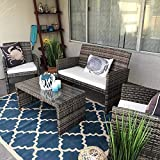 ANA Store Mix Gray Wicker Yard Upholstered Seat Set of 4 Pcs Rectangle Body Tempered Glass Top Bar Sofa Side Table with Mattress Lounge 2 Ottoman 4 Piece Stylish Rattan Outdoor Chat Seating