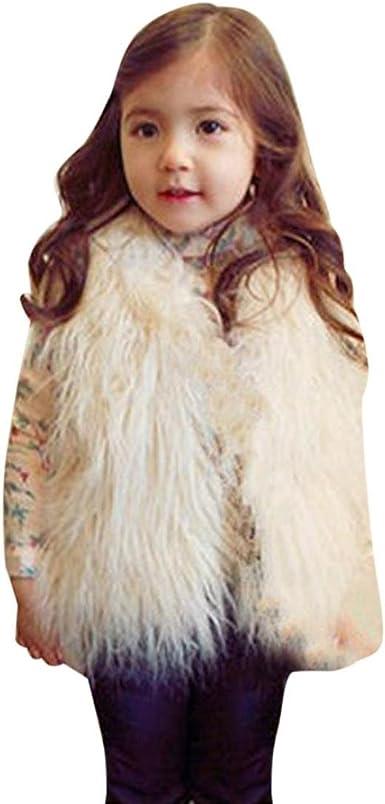 UK New Fashion Kids Baby Girls Faux Fur Vest Girl Warm Winter Jacket Coat#