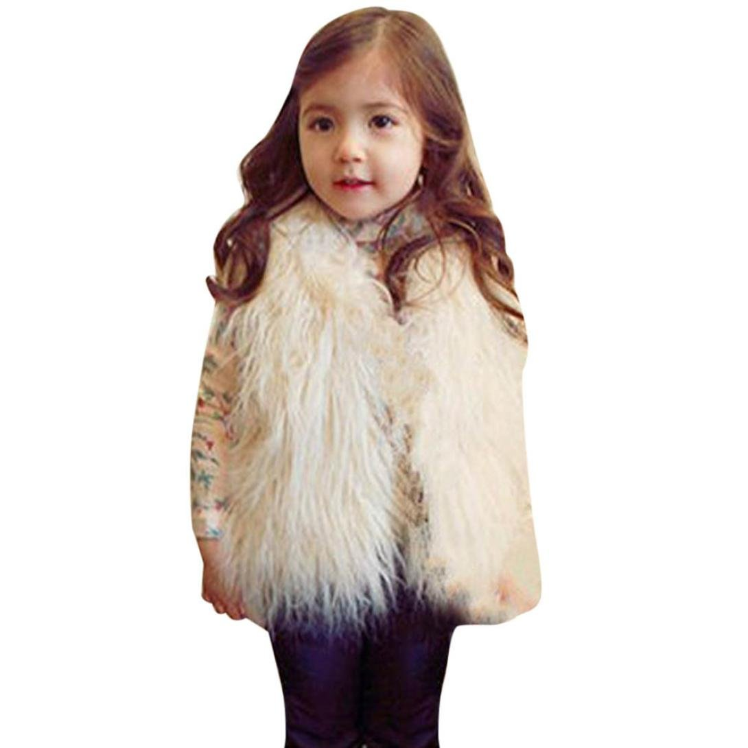 HOMEBABY Toddler Kids Baby Girl Faux Fur Gilets, Winter Warm Baby Clothes Girls Sleeveless Jacket Winter White Waistcoat Vest Coat Fluffy Thick Coat Outwear 2-6 Years
