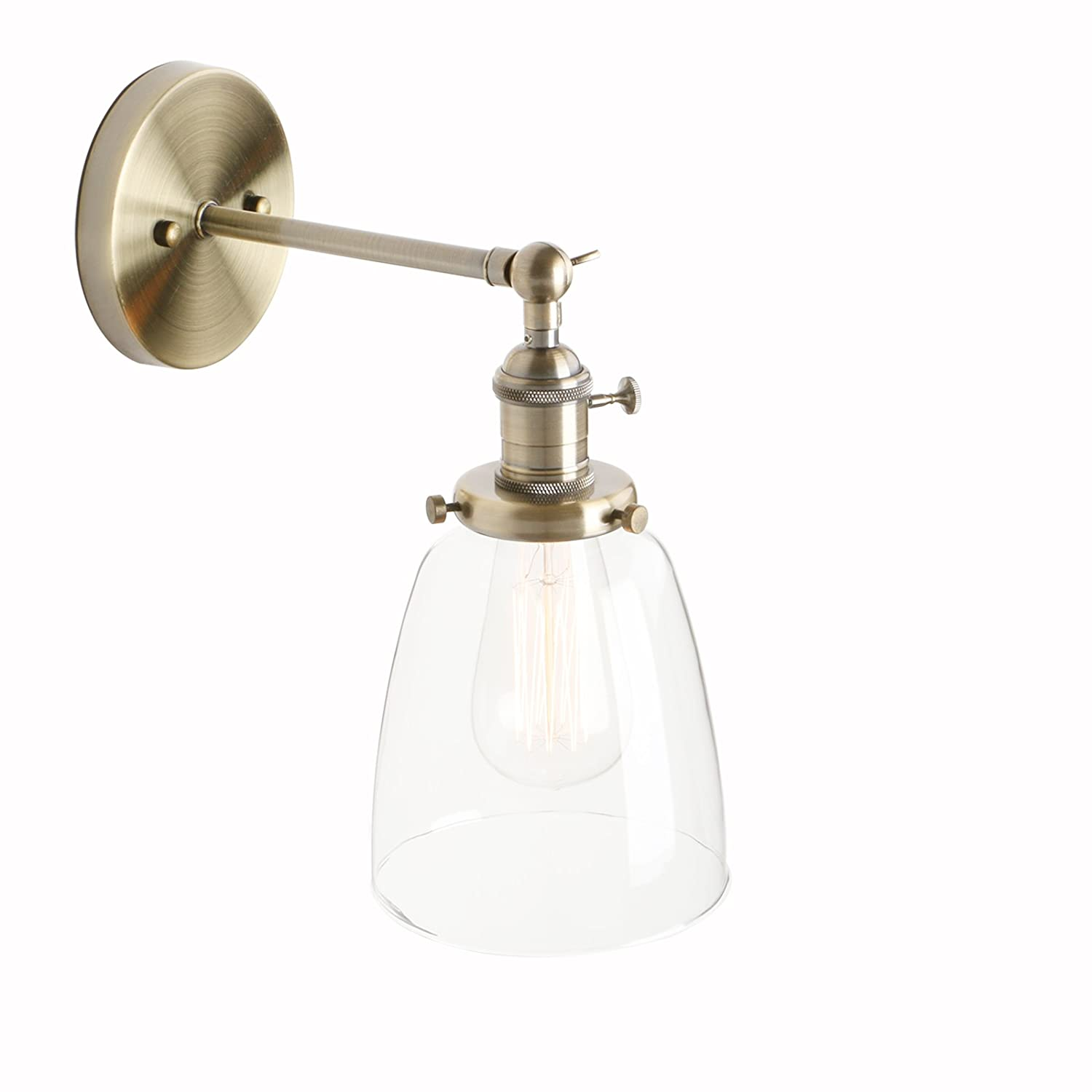 "Pathson Industrial Vintage Modern Wall Light Fittings Loft Bar Kitchen Sconce Wall Lamp Light Fixture with 5.5"" Clear Glass Lampshade E27 (Brushed)"